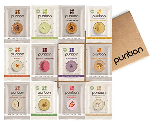 Purition Mixed Trial Box | Premium Vegan & Vegetarian sachets, High Protein Powder for Keto Shakes and Smoothies with Only Natural Ingredients for Weight Loss | 12 x 40g sachets