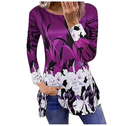 Blusas Mujer Largos con Estampado de Flores Elegantes Camiseta para Mujer Manga Larga Cuello Redondo Camisas...