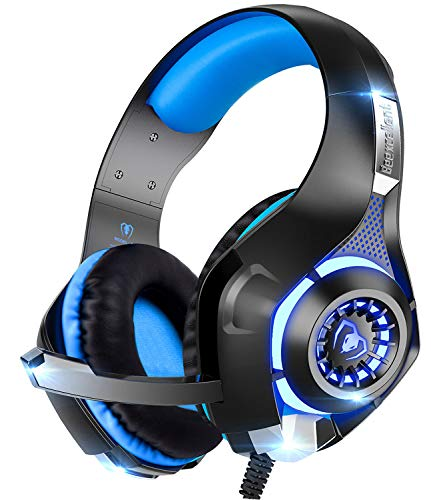 BeexcellentPCゲーミングヘッドセット有線3.5mmステレオ騒音隔離伸縮可能マイク付軽量ブルー