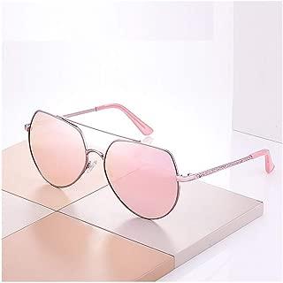 SGJFZD Women's Fashion Retro Sunglasses Round Big Box Sun Visor Trendy Metal Sunglasses (Color : Pink)