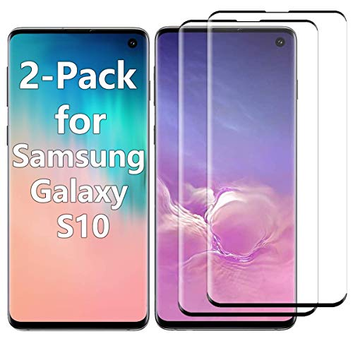 Galaxy S10 Screen Protector Tempered Glass for Samsung Galaxy S10 Case Friendly 9H Hardness 3D Curved HD Coverage Fingerprint ID Enabled Black 2-Pack