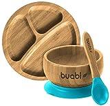 BUABI Vajilla de Bambú natural, set 3 piezas: Bowl Plato y Cuchara. Con ventosa antideslizante en la base. Bambú y silicona grado alimentario, Ecológico sin BPA (Azul)
