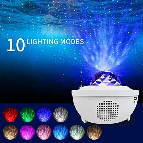 Haucy LED Sternenhimmel Projektionslampe, Nebu Licht, mit Fernbedienung, 10 Farben, Bluetooth Lautsprecher Timer, für Kinderzimmer, Weihnachtsdeko, Party (Weiß)