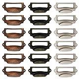 18 soportes para etiquetas de metal vintage, marco de metal bronce, cajón, portaetiquetas para armario de farmacia