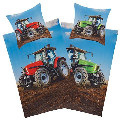 Aminata Kids Bettwäsche Traktor 135x200 Kinder Junge Baumwolle Kinderbettwäsche mit Traktor-Motiv - Trecker - Wende-Bettwäsche-Set mit Traktoren-Motiv rot und grün, YKK Reißverschluss