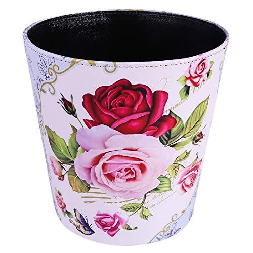 Batop Papierkorb, 10L PU Wasserdicht Europa Vintage Mülleimer mit Blume Motif, Papierkorb für Büro Wohnzimmer Küche Badezimmer Schlafzimmer