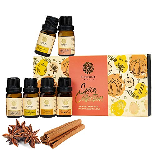 Florona Spice Essential Oils Blend, Upgraded 6 Packs 10ML Aromatherapy Oil Gift Set Pure & Natural Fragrance Oils for Diffuser(Apple...