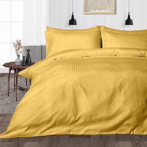 Juego de cama de 3 piezas, 100% algodón egipcio súper suave, juego de funda de edredón con dos fundas de almohada Euro King IKEA tamaño rayas doradas