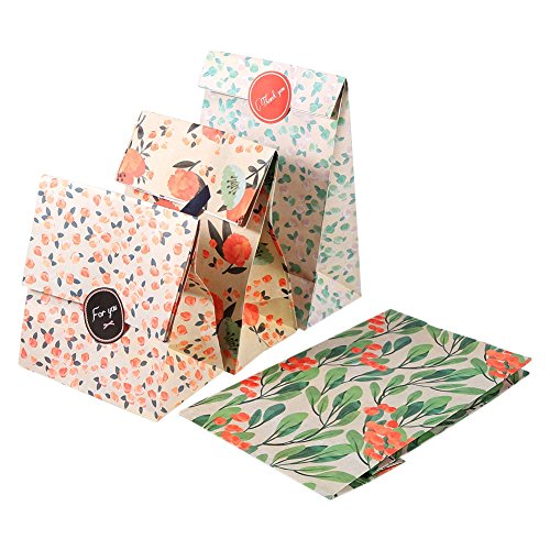 12pcs Patrón de flores Bolsas de papel Kraft con pegatinas Bolsas de regalo de papel Tratar Bolsas de compras para galletas de dulces Galletas Boda Vacaciones Cumpleaños Año nuevo