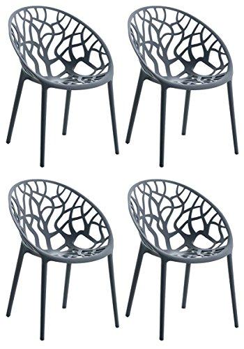 CLP 4er-Set Design-Gartenstuhl Hope aus Kunststoff I 4X Wetterbeständiger Stapelstuhl mit Einer maximalen Belastbarkeit von 150 kg I erhältlich Grau