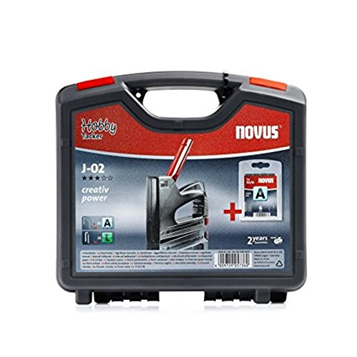 Novus Handtacker J-02 Koffer-Set, inkl. 1000 Feindraht-Klammern 6 mm, Hobby-Tacker aus ABS-Kunststoff, Griffverriegelung