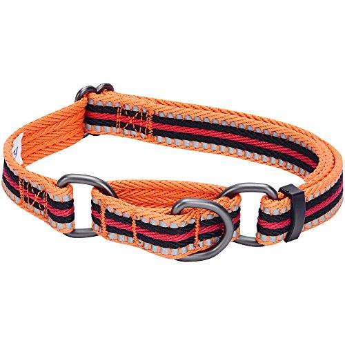 Blueberry Pet 2cm M 3M Reflektierendes Bunt Gestreiftes Orange und Schwarz Sicherheitstraining Martingale Hundehalsband für Mittelgroße Hunde