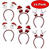 12 bandeaux de Noël - 3 modèles assortis - Coiffure de fête pour adultes et enfants - Fête et célébrations Coiffe de Noël coiffe serre-tête