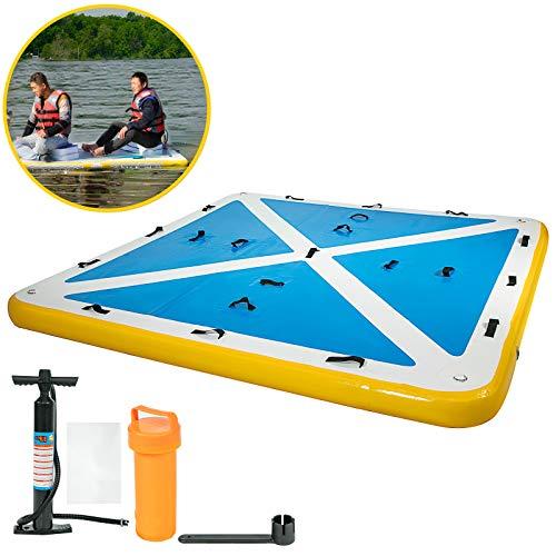 Happybuy Inflatable Floating Dock 8'x 6'x 6 inches, Thick Inflatable Dock Platform 4-6 People, Floating Platform for Pool Beach Ocean