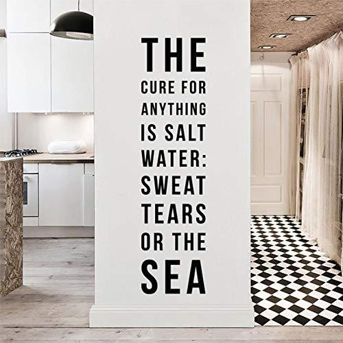 De remedie voor alles is zout water: zweet, tranen of de zee, grote inspirerende muur citaat typografie muursticker muur letters WAL-2296