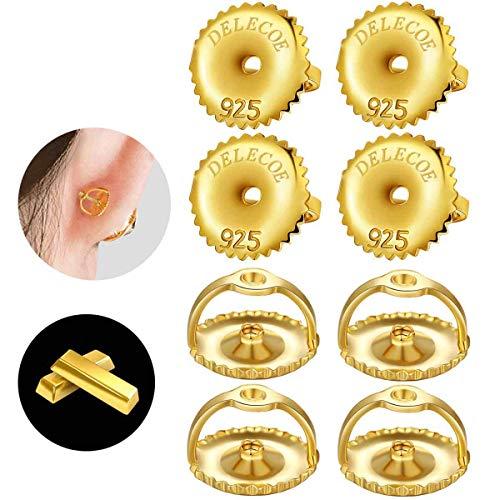 "DELECOE 14K Gold Plated Screw Earring Backs for Diamond Earrings, 925 Stering Silver Hypoallergenic Screw Backs Replacement, Secure Screw on Back Earrings for Women, Fit for Post Sizes .032"""