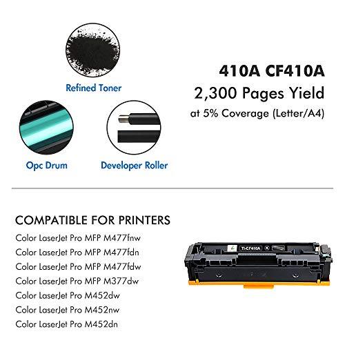 True Image Compatible Toner Cartridge Replacement for HP 410A CF410A CF410X 410X 410 Laserjet Pro MFP M477fdw M477fdn M477fnw M452nw M452dw M452dn M477 M452 (Black, 1-Pack) Photo #6