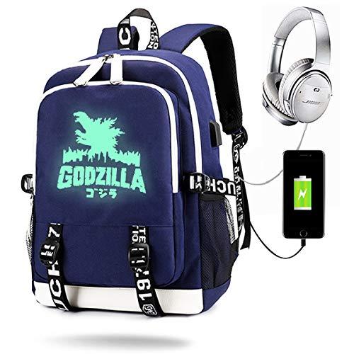 MCdreamUSA Dinosaur Monster Backpack Luminous with USB Charge Port, Travel Laptop Backpack for Girls Boys (Black) (Blue)
