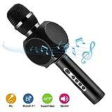 Micrófono inalámbrico Karaoke, HURRISE Tech 4-en-1 Reproductor Portátil de Micrófono con Bluetooth y Soporte para Teléfono Echo Reducción de Ruido para iOS, Sistema Android y Tabletas (negro)
