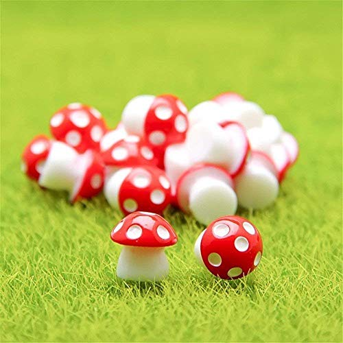 Danmu 10pcs Mini PVC Mushrooms Miniature Figurines, Fairy Garden Accessories, Fairy Garden Animals, Fairy Garden Supplies, Micro Landscape - Plant Pots, Bonsai Craft Decor (Red)