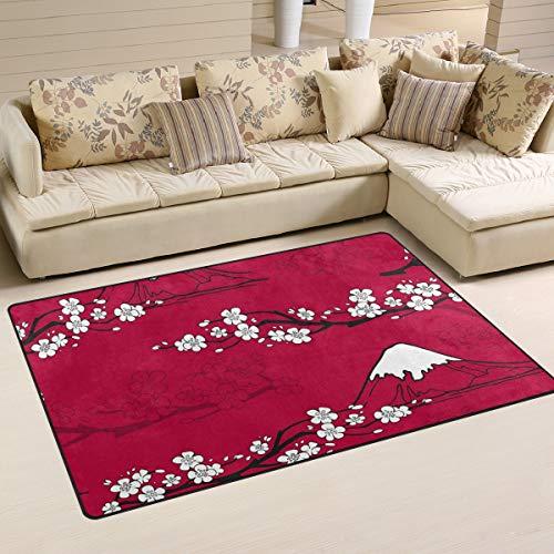 XiangHeFu Teppiche für das Leben Esszimmer Schlafzimmer Fußmatten Dekorative Kirschbaum Mount Fuji 2'7