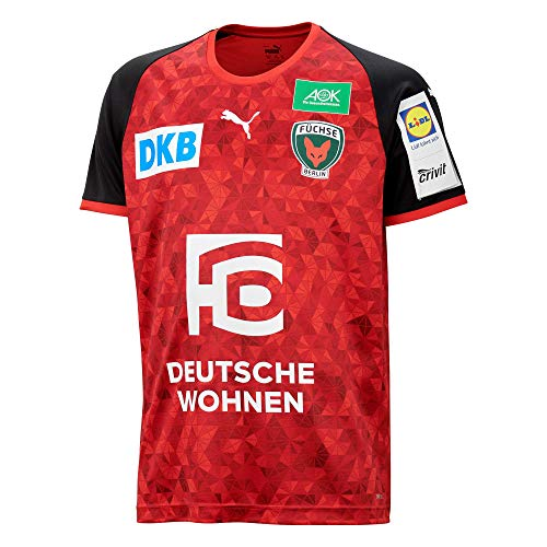Füchse Berlin Puma Handball Away Shirt w. Sponsor Red Black, Größe:XL