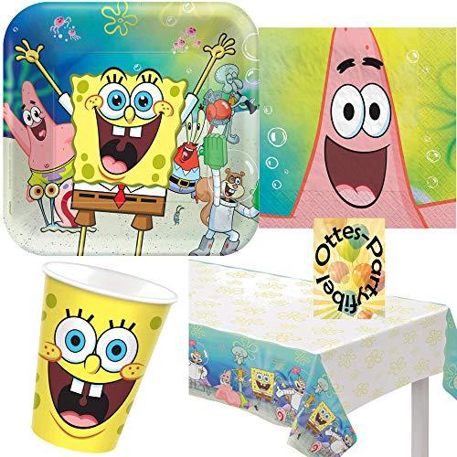HHO Spongebob-Party-Set 49tlg. für 16 Gäste Teller Becher Servietten Tischdecke