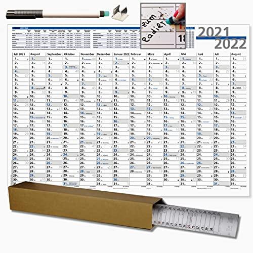 Schuljahreskalender 2021/2022 nass abwischbar mit Stift und Stifthalter im praktischen Format 70 x 50 cm, Schuljahresplaner für Lehrer und Schüler, die Sonn- und Feiertage sind in Blau