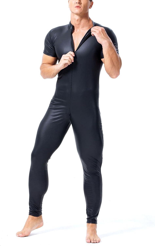 LZJDS Sexy Men's Patent Leather shop Fit New product Bodysuit Double Slim Zipper