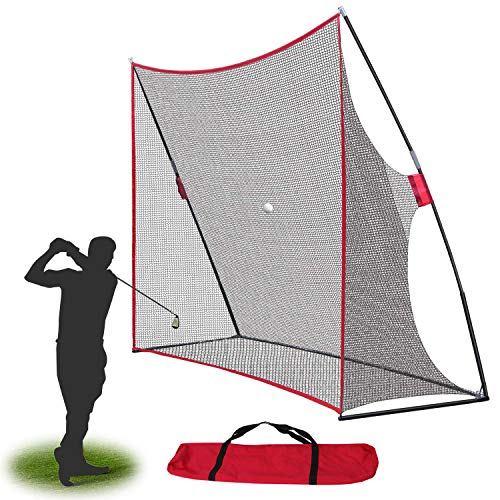 Smartxchoices Portable 10x7ft Large Golf Netting Golf Practice Hitting Net with Stand Frame & Carry Bag for Golf Driving Pitching Hitting Training, Backyard/Indoor/Outdoor