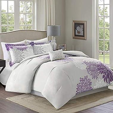 Comfort Spaces – Enya Comforter Set - 5 Piece – Purple, Grey – Floral Printed – King Size, Includes 1 Comforter, 2 Shams, 1 Decorative Pillow, 1 Bed Skirt