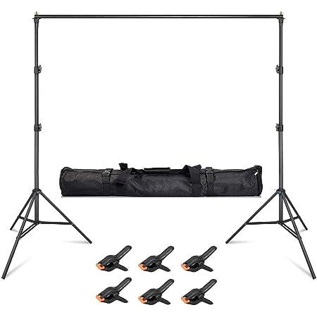 Hemmotop 撮影スタンド 写真背景用 200x300cm 背景スタンド 3m 背景布のクリップ 6個付き クロマキー スタンド 安定性がよい 日本語取扱説明書 三脚バッグ付き 持ち運び便利 アルミ製