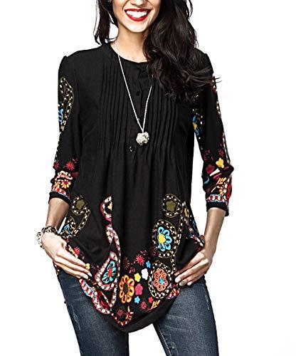 Aleumdr Donna T Shirt Camicetta con Bottoni Blusa Manica 3/4 Floreale Maglietta Maniche Lunghe Donna Elegante Tunica Donna- 2XL(EU52-54)