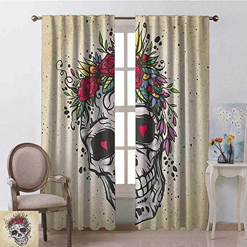 Wild One Curtain suikerschedel met een slinger van rozen en wildbloemen, harten, Boho Chic design, 2 paneelspellen