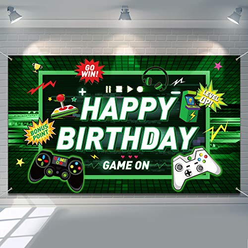 Video Game Happy Birthday Backdrop Gaming Theme Party Photography Background for Kids Boys Birthday Party Decorations