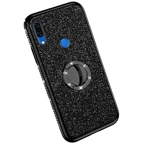 Ysimee Compatible avec Huawei Y9 Prime 2019/P Smart Z Coque Paillette Glitter Silicone TPU Etui avec Support Bague Strass Bling Couleur Placage Case pour Fille/Femme Anti Choc Ultra Mince Housse,Noir