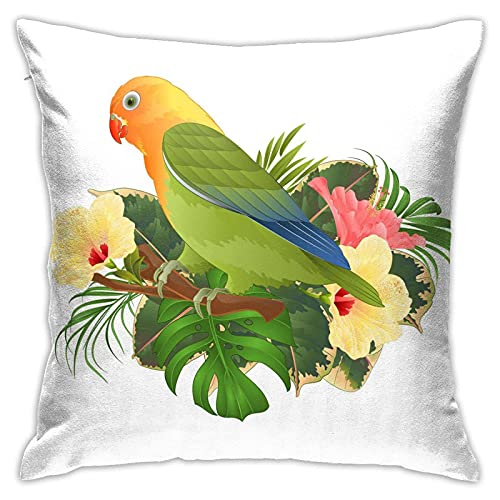 862 Funda de almohada de loro, diseño de pájaro, color verde y verde con flores tropicales, funda de almohada de poliéster, fundas de almohada para dormir, fundas de almohada de 45 x 45 cm