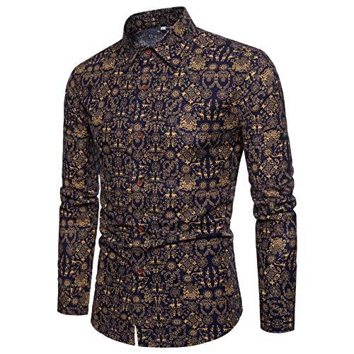 Camisas para Hombre Primavera y otoo Moda 3D Impresin Digital Solapa Manga Larga Camisa Floral Retro Trendy Slim Plus Size Shirt 3XL