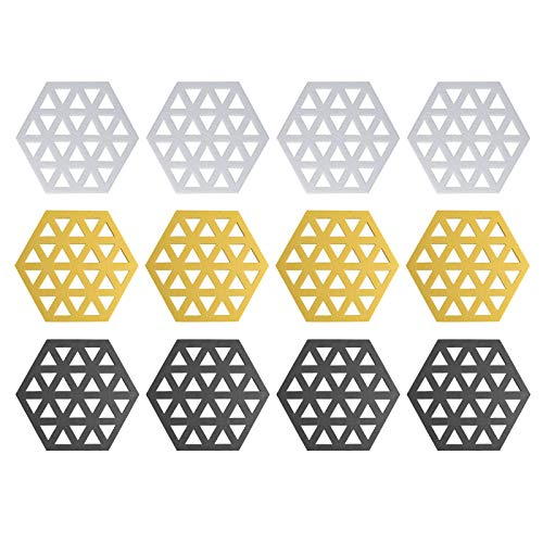 Gwotfy 12 Piezas Posavasos para Bebidas, Posavasos Antideslizantes, Protector de Mesa de Cocina, Alfombrilla térmica para Platos, Blanco/Negro/Amarillo, 11,5 x 10 cm