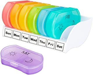 Octarch Weekly Pill Organizer,am pm Pill Box 2 Times a Day,7 Day Travel Portable Daily Medicine Organizer for Purse to Vitamins,Fish Oil,Supplements