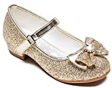 Furdeour Girl Shoes Mary Jane Size 1 Gold Bridesmaid Party High Heels Shoes for Little Teen Flower Girls 8-9 Yr Kids Cute Cosplay Wedding Princess Dress Glitter Cheap (Gold 1)