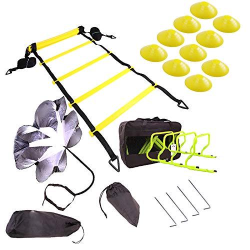 MaQyq Traje De Escalera De Agilidad De Entrenamiento De Fútbol, Logo Disco De Arrastre Paracaídas Traje De Obstáculo De Entrenamiento Plegable Escalera De Cuerda De Escalera De Celosía De Salto
