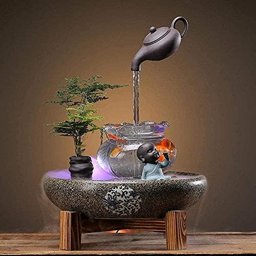 Dpliu Innens Wasser Brunnen chinesischer Feng Shui Gluuml; Ck Home Dekoration Zubehör, R Keramik Brunnen Orente Desktop Bonsai Luftbefochrichter (Color : Style F)