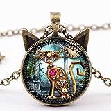 Handcess - Collar con colgante de gato negro con forma de reloj de cristal para mujeres y niñas