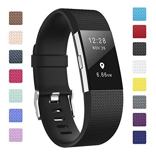 Fundro Armband Für Fitbit Charge 2, Weiches Verstellbare Silikon Sports Ersatz Armbänder für Fitbit Charge 2 Klein & Groß Damen & Herren (Schwarz, Small)