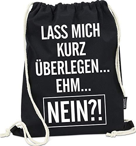Hashtagstuff® Turnbeutel mit Sprüchen Designs auswählbar Kordel Schwarz Spruch Rucksack Jutebeutel Sportbeutel Gymbag Beutel Hipster Nein