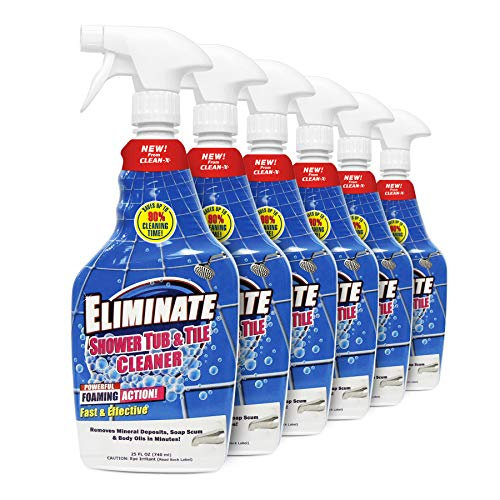 Eliminate Shower Tub & Tile Cleaner- 25 fl oz. - Shower Cleaner. Powerful Cleaner removes soap scum and hard water minerals by UNELKO- Clean-X Invisible Shield (6)