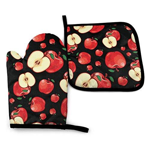 Ofenhandschuhe Set Äpfel Obst Nahtloses Muster Küchenofenhandschuhe Hitzebeständiges Topfkissen zum Grillen Kochen Backen Grillen