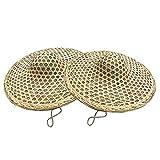 SPARKX Sombrero De Paja Adulto Sombrero De Coolie, Sombrero Trenzado De Bambú Unisex, Traje Oriental Chino Props De Baile Accesorios De Decoración (2 PCS),Amarillo,56~58cm