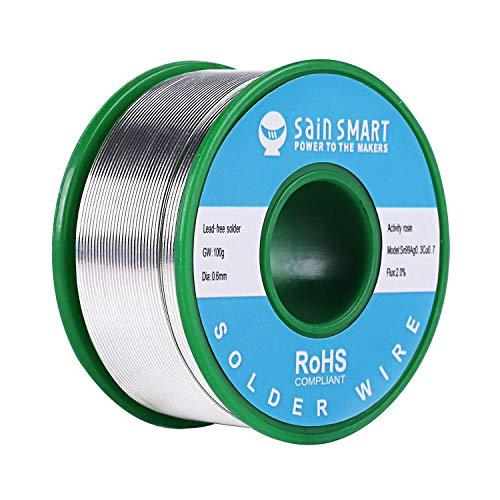 SainSmart Fil à souder sans plomb 0,6 mm avec Rosin2 Sn97 Cu0.7 Ag0.3, fil d'étain pour soudure électrique (100 g)
